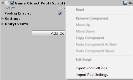 Screenshot of the GameObjectPool component's context menu.