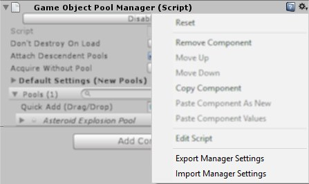 Screenshot of the GameObjectPoolManager component's context menu.